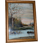 Framed Watercolor of Stream and Church ~ Artist E Willard Late 1800's –Early 1900's