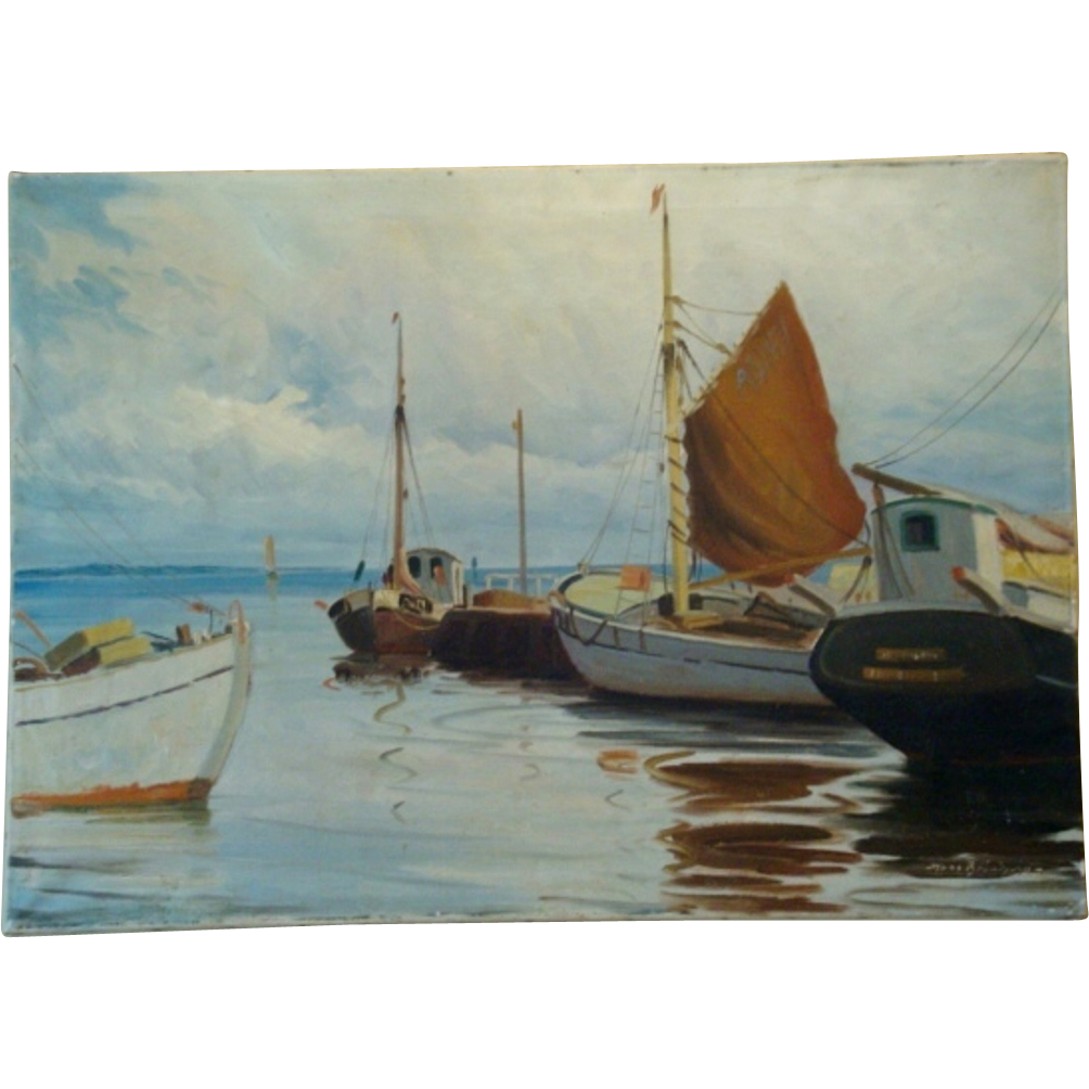 "Wonderful Dutch Nautical Scene Hand Painted Oil on Canvas 37"" L x 26 1/2"" W by Hans Brondsvig"