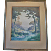 Beautiful Serene Watercolor ~ Original Landscape of Woods and Stream by Glenn Ewing 20th century.