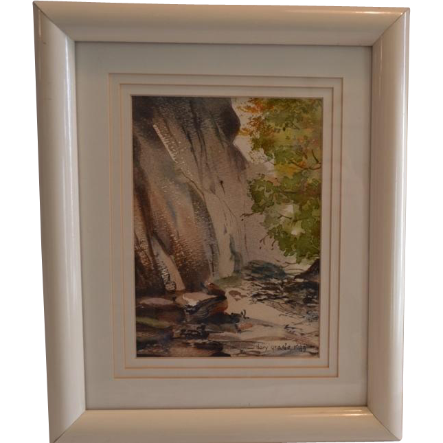 Original Watercolor of American Landscape ~ Yosemite ~ Framed and Matted ~Artist Dory Grade 1989 California