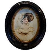 Beautiful Original Watercolor of a Gibson Girl ~ Mahogany Frame ~ Artist Signed H. Gold ~ late 1800's to early 1900's
