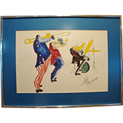 Fantastic Original Framed Vintage  Ink and Watercolor on Paper ~ Three Jazz Musicians ~ Signed by Michael Smiroldo late 1960's to early 1970's