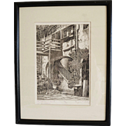 Beautiful Etching ~ The Claiborne Court Old New Orleans signed by  Eugene E. Loving (1908-1971)