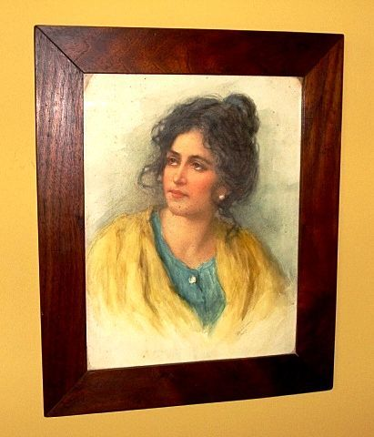 "Amazing Water Color of a Beautiful Woman with Yellow Shawl ""Peasant Girl"" by Vittorio Tessari.Circa 1887-1897."
