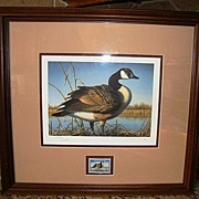 1997-1998 Federal Waterfowl Print & Stamp ~ The Canada Goose Print with Federal Migratory Bird Stamp ~ By Robert Hautman