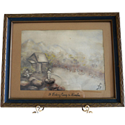 "Original Watercolor ""A Fishing Camp in Alaska"" ~ Signed Van Gundy 1938, framed under glass"