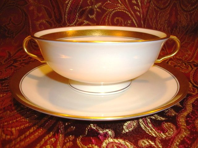 12 Available Pickard Footed Cream Soup / Bouillon Cups with saucers  ~ Hand Painted with Encrusted Diamond Rim ~ Jefferson Pattern ~ Pickard Studios Chicago IL  1938+