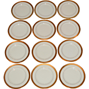 "12 Pickard 6 3/8""  Bread & Butter Plate Set~  Hand Painted with Encrusted Diamond Rim ~ Jefferson Pattern ~ Pickard Studios Chicago IL  1938 +"