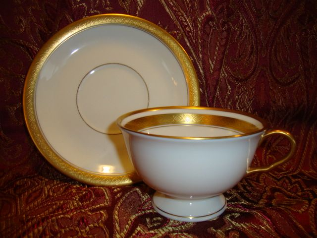 12 Available Pickard Footed Cup & Saucer ~  Hand Painted with Encrusted Diamond Rim ~ Jefferson Pattern ~ Pickard Studios Chicago IL  1938 +