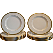 """12 Available  Pickard 10 3/4"""" Dinner Plate  ~ Hand Painted with Encrusted 24K Gold Diamond Rim ~ Jefferson Pattern ~ Pickard Studios Chicago IL  1938 +"""