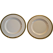 "Pickard 10 3/4"" Dinner Plates ~ Hand Painted with Encrusted 24K Gold Diamond Rim ~ Jefferson Pattern ~ Pickard Studios Chicago IL 1938 +"