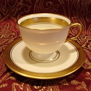 12 Available Pickard Footed Demitasse Cup & Saucer ~  Hand Painted with Encrusted Diamond Rim ~ Jefferson Pattern ~ Pickard Studios Chicago IL  1938+