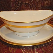 Exquisite Pickard Gravy Boat attached Under Plate ~ Hand Painted with Encrusted Diamond Rim ~ Jefferson Pattern ~ Pickard Studios Chicago IL  1938+