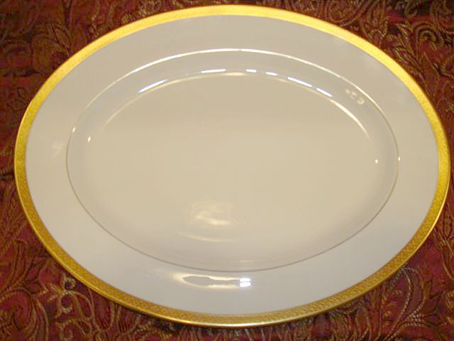"Exquisite Pickard 15 ¾"" Platter ~ Hand Painted with Encrusted Diamond Rim ~ Jefferson Pattern ~ Pickard Studios Chicago IL  1931-1938"
