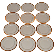 "12 Pickard  8 1/4"" Salad / Dessert Plate Set ~  Hand Painted with Encrusted Diamond Rim ~ Jefferson Pattern ~ Pickard Studios Chicago IL  1938 +"