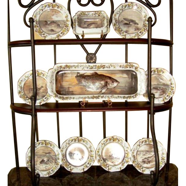 "Fish Set Limoges Porcelain ~ 10 Pieces~ Includes 22"" Platter ~ Re-issue of President Rutherford B Hays Design ~ Haviland & Co Limoges France 1887-1889"