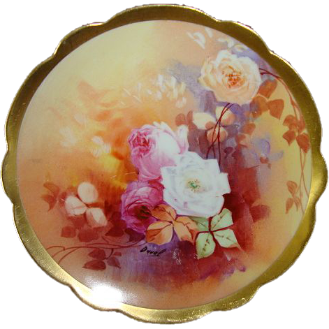 "Great 6"" Limoges Porcelain Decorative Plate ~ Hand Painted by "" Duval "" with White, Yellow & Pink Roses ~  Limoges France /  Coronet 1891-1920"