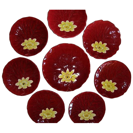 "8- Colorful German Majolica Red ""Water Lily"" 7 Cabinet Plates / 1 Master Plate ~  Dessert Set ~ ZELL United Ceramic Factories - GEORG SCHMIDER (Germany) - ca 1907 – 1928"