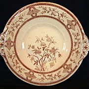 """Wonderful 10 ¾"""" English Earthenware Brown Transfer Underplate~ Floral Design ~ Parisienne Patter ~ Old Hall Earthenware Co LTD Before 1884"""