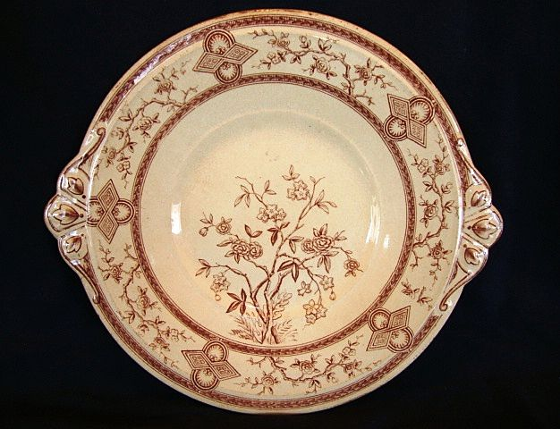 "Wonderful 10 ¾"" English Earthenware Brown Transfer Underplate~ Floral Design ~ Parisienne Patter ~ Old Hall Earthenware Co LTD Before 1884"