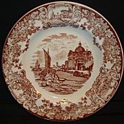 Very Nice English Earthenware Cabinet Plate ~ Brown Transfer ~ Cyprus Pattern ~ F J Emery Burslem Staffordshire England 1878-1893