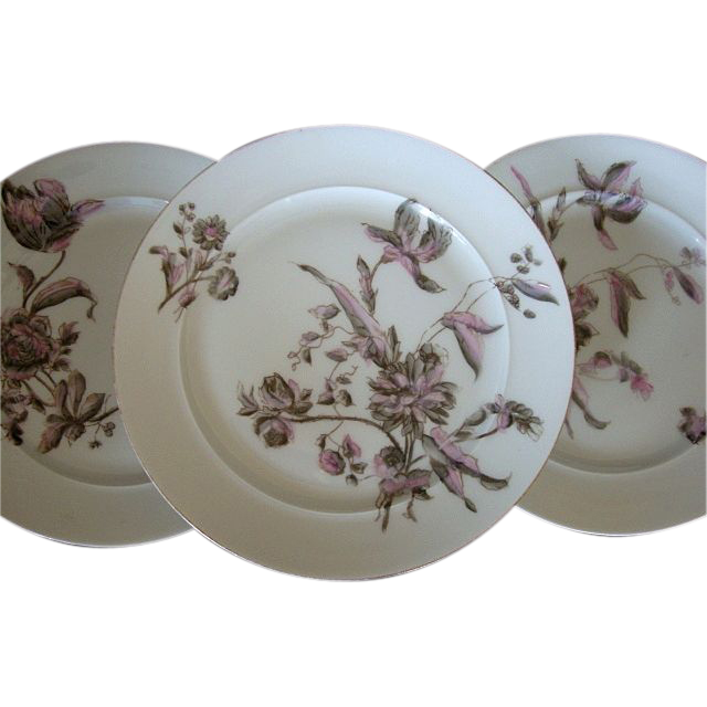 Set of (3) Elegant and Unusual OLD Limoges Porcelain Plates Factory Decorated with Pink & Gray Tulips and Flowers ~ Old Pink & Gray Pattern– CFH Limoges - 1868-1881