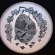 """Nice 9 5/8"""" English Black Transferware Cabinet Plate ~ Countryside with Birds ~ Springtime Pattern ~ Clementson Bros Hanley England June 4th 1883"""