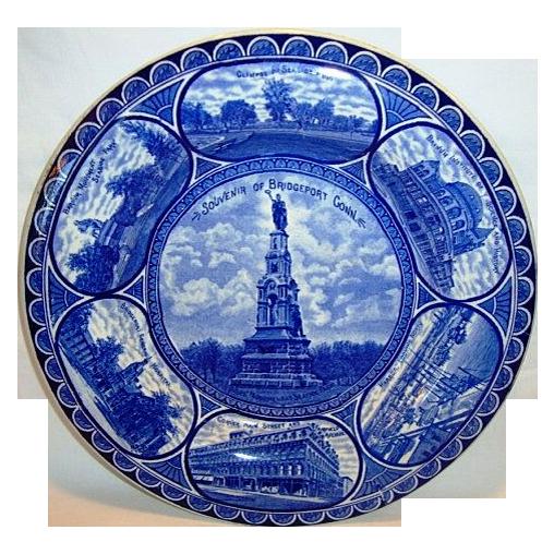 Flow Blue Earthenware Souvenir Plate of Bridgeport, Connecticut  ~ ROWLAND & MARSELLUS Staffordshire England 1893-1938 – DM Read Co Importers