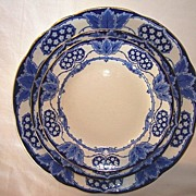 Beautiful English Earthenware Trio of Plates ~ York Pattern ~ Cobalt Blue Hearts, Flowers Leaves ~ Keeling & Co Burslem England 1891-1909