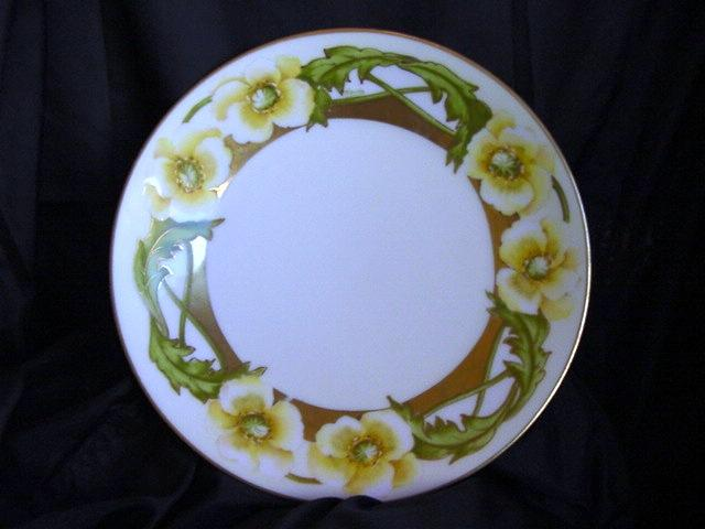 "50% OFF! FANTASTIC Bavaria Hand Painted Porcelain Plate – Yellow Flowers,Gold Trim Signed ""Muerin"" – PT Bavaria Tirschenrueth Porcelain Factory ca. 1901-1920"