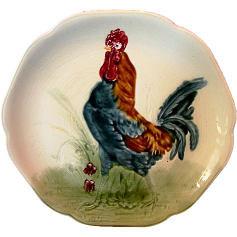 Beautiful Majolica /Faience Pottery Cabinet Plate ~ Decorated with Colorful Rooster ~ H Boulenger & CO France ~ 1836-1930