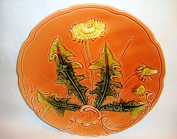 Awesome LARGE-SIZED German Majolica Plate Hand Painted with Dandelion ~ ZELL United Ceramic Factories - Georg Schmider Zell Baden Germany 1907-1928