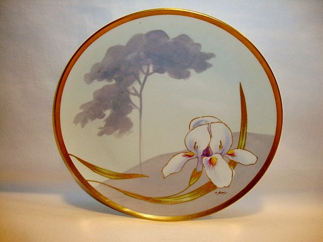 Beautiful Limoges Plate Hand Painted with Iris ~ Signed J. Barin ~ Latrille Freres  & Coronet Limoges France 1899-1913