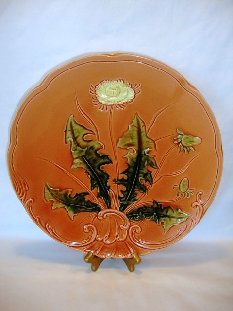 "Awesome 13 ¼"" German Majolica Charger Hand Pained with Dandelion ~ ZELL United Ceramic Factories - Georg Schmider Zell Baden Germany 1907-1928"