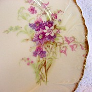 Beautiful Limoges Porcelain Cabinet Plate ~ Decorated with Delicate Purple and Pink Flowers ~ Bawo & Dotter (Elite Works) 1900-1914