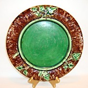 "Beautiful 9 ½"" W Majolica Plate ~ Brown Bark Rim with Green Ferns & Vines ~ Unattributed"