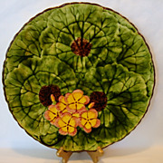 "Incredible 11 5/8"" Majolica Plate / Charger / Tray ~ Hand Painted Yellow and Pink Geraniums ~ CICO Germany  Mid 1900's"