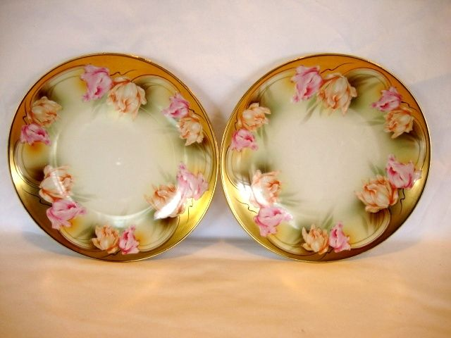 Reduced!!!  (2)  ~ Porcelain Plates-Pair ~ Factory Decorated with Parrot Tulips ~ REINHOLD SCHLEGELMILCH - R.S. PRUSSIA (Germany) - ca 1917 - 1920s