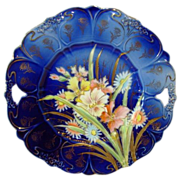 """Unbelievable German Porcelain 11"""" Cake Plate ~ Cobalt Blue with Pastel Mixed Flowers ~ REINHOLD SCHLEGELMILCH PORCELAIN FACTORIES - R.S. GERMANY (Germany) - ca 1870s - 1880s - Red Tag Sale Item"""