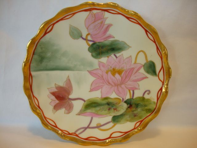 "Awesome Limoges Porcelain Plate ~ Hand Painted By Pickard Artist ""Harry E Michel"" ~ Stylized Pink Regency Water Lilies ~ Tressemann & Vogt Limoges France 1892-1907"