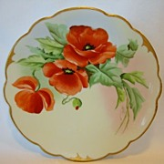 Exquisite Pickard Studio Hand Painted Porcelain Cabinet Plate ~ Bold Orange Poppies ~ Wight Signed ~Pickard Studios, Chicago IL 1905-1910 - Red Tag Sale Item