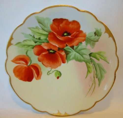 Exquisite Pickard Studio Hand Painted Porcelain Cabinet Plate ~ Bold Orange Poppies ~ Wight Signed ~Pickard Studios, Chicago IL 1905-1910