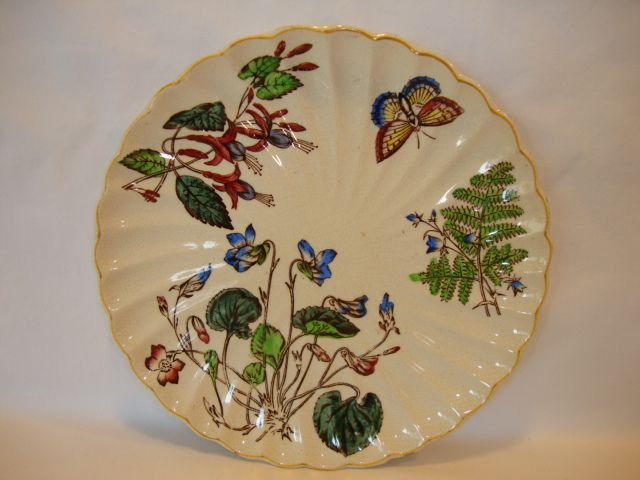 Wonderful English Earthenware Plate ~ Polychrome Flowers, Fern and Butterfly ~ T Fell & Co England 1817-1890