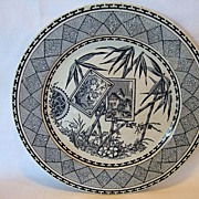 Wonderful Gray/Blue Aesthetic Transferware Plate ~ Bamboo Pattern ~ John Meir & Sons Tunstall England 1837-1897