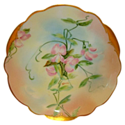 "Wonderful Bavarian Porcelain Cabinet Plate ~ Hand Painted by Pickard Artist ""Florence James"" with Sweet Peas ~  Rosenthal Bavaria / Pickard Studio Chicago IL 1903-1905"