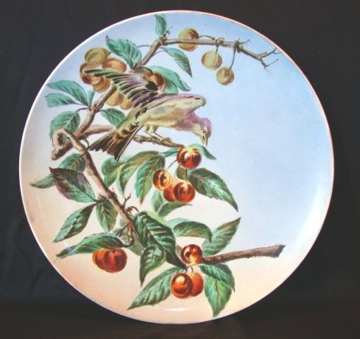 "Awesome French Faience 13 ¾"" W Charger / Plate ~ Hand Painted with Cherries and Bird ~ B & Cie Barluet & Co Monterbau  France 1876 1884"