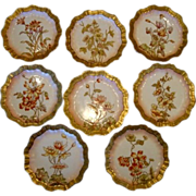 Awesome Set of  8 English Plates ~ Hand Painted with Different Flowers and Gold Outlined ~ attributed to Doulton,Burlsem c. 1880's