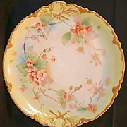 "Charger / Platter ~13"" Limoges Porcelain ~Hand Painted with Wild Pink Roses ~ Ranson Pattern ~ Haviland France 1893-1930"