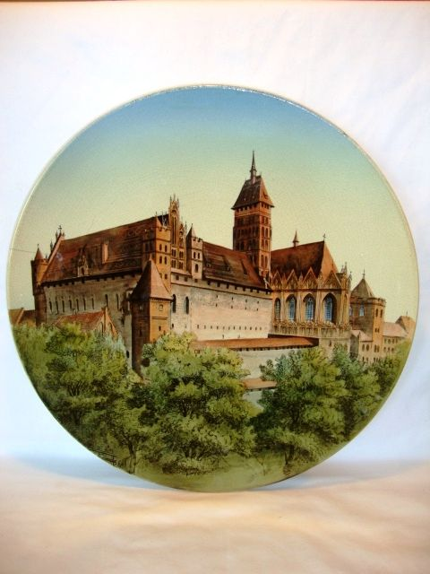 "Impressive 17 ½"" Faience Plaque ~ Marienburg Castle Germany by Villeroy Boch Mettlach Germany 1874-1809"
