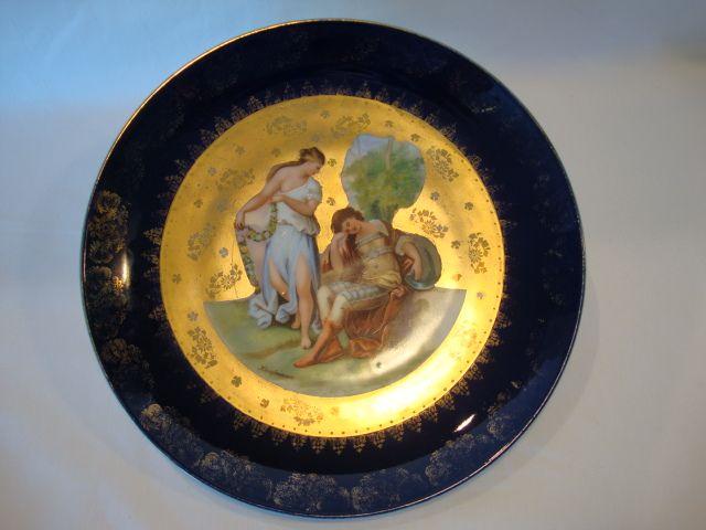 "Nice 10"" Porcelain Cabinet Plate ~ Angelica Kaufmann ~ Transfer on Cobalt and Gold  ~ VICTORIA PORCELAIN - SCHMIDT & CO. Bohemia - ca 1891 - 1918"